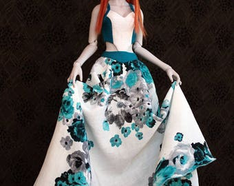 Blue and White dress -for 1/3 SD bjd