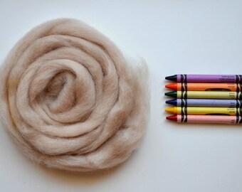 ROMNEY WOOL ROVING / Oatmeal Beige 1 ounce / romney roving for spinning, needle felting, wet felting, weaving, tapestry, doll hair