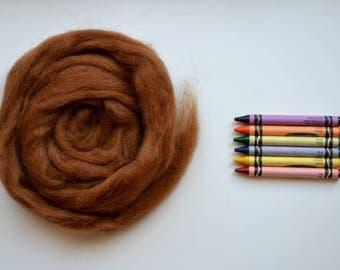 ROMNEY WOOL ROVING / Auburn Brown 1 ounce / romney roving for spinning, needle felting, wet felting, weaving, tapestry, doll hair