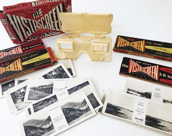 Vintage Vistascreen 3D Viewer with 20 Slides of Isle of Anglesey and Penmaenmawr