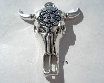 32mm Zinc Based Alloy Boho Chic Pendants, Antique Silver Cow Pendants with Flower, Pack of 3 Pendants, C198