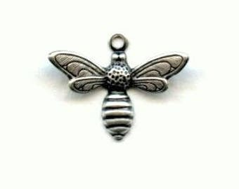 Little Bee Shapes, Bee Charms, Wings Dapt Up, Cute Little Bees, Tiny 17x13mm, Many Ways to Use These, Ox Silver Plated Brass, X6