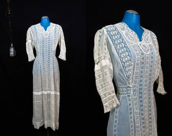Antique 1900s Edwardian Era Romantic Crochet Lace Day Dress sz XS