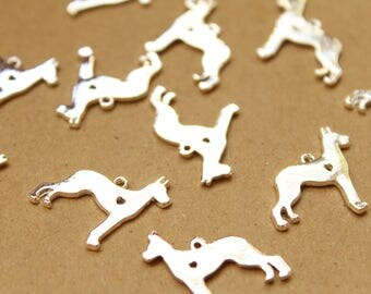 6 pc. Silver Plated Dog Charms with Heart Cutout, 19mm x 20mm   MIS-131