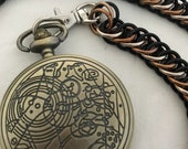 Doctor Who Gallifreyan Pocket Watch with Handmade Chainmaille Chain!
