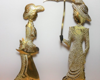 Vintage Wall Decor, Brass, Victorian Ladies, Silhouettes, Wall Art, Metal, Set of Two