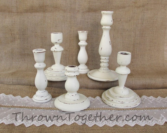 Wood Candle Holders, Distressed Off White Candle Holders, Set of 6 Candle Holders, Holiday Centerpiece, Wedding Decor, Farmhouse Chic Decor