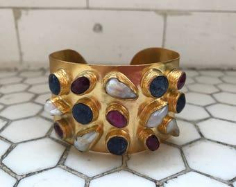 Fresh Water Pearls & Lapis Jeweled Gold Metal Cuff