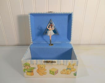 Vintage children's musical jewelry box, Dancing ballerina, Little girl's jewelry box, Rocking horse, Teddy bears, Staging, Props