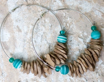Large Beaded Hoop Earrings- Wood, Ceramic & Glass