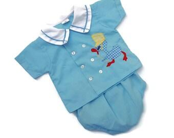 Vintage Baby Boy Diaper Shirt Pants Outfit BlueDuck 60s Mid Century 0- 6 Month Infant