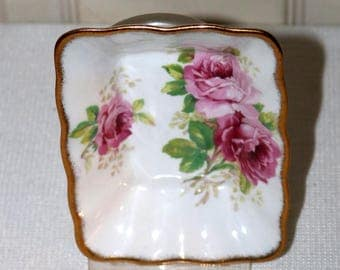 "Vintage Royal Albert ""American Beauty"" -  Candy Dish - Pink Roses - English Bone China"