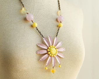 Recycled flower necklace / recycled jewelry / repurposed necklace / flower necklace / daisy necklace / assemblage necklace / boho necklace