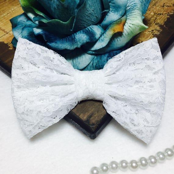 White Lace Hair Bow/ Girls Hair bow/ Big Bow/ Retro Bow/ Prom- Wedding Dress Bow/ Kawaii Bow/ Girls Bows/ Baby Bows/ Handmade White Lace Bow