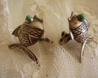 Vintage Sterling Silver Screwback Fish EARRINGS/925