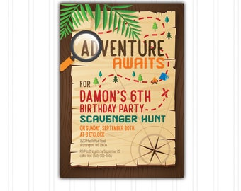 Scavenger Hunt Geocaching Birthday Invitation Printable Download Print at Home with FREE THANK YOU Card