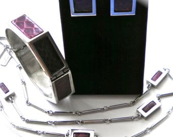 Signed ANNE KLEIN for ACCESSOCRAFT  Bracelet, Necklace & Earrings  Snakeskin and Silver tone Rare Complete Set 1970's