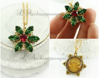 NEW COLOR Anastasia Together In Paris Necklace Miniature Pendant Anastasia cosplay Once Upon a Dicember Romanov flower ERINITE green key