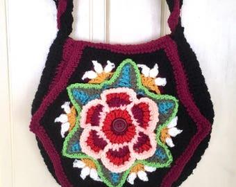 Oaak designer unique colorful hand knitted crocheted messenger bag, hippie, boho