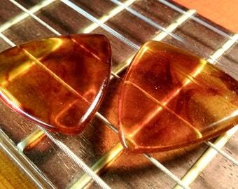 Set of 2 Amber Resin Guitar Picks - 2mm Traditional Tri Shape - Acoustic Guitar, Electric Guitar, Mandolin, Ukulele
