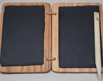 Wax Tablet w/ wooden stylus 3.5x5 inches -- Roman style with black wax