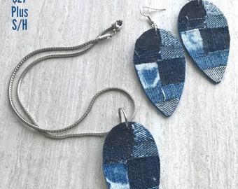 Blue Jean Earrings,Patchwork Earrings,Blue Tee Inspired, Denim Earrings, Necklace Available