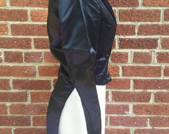 Vintage 1960s Circus Performer Coat with Tails // Black Satin Womens Tuxedo Jacket // Burlesque Dancer