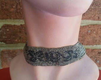 Vintage 1920s Flapper Antique Seed Bead Collar // Embroidered Showgirl Choker Necklace
