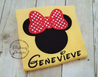 Girl Mouse Custom embroidered Disney Inspired Vacation Shirts for the Family! 921 yellow
