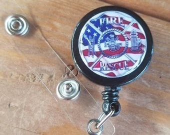 Fire Rescue Flag ID Badge Reel