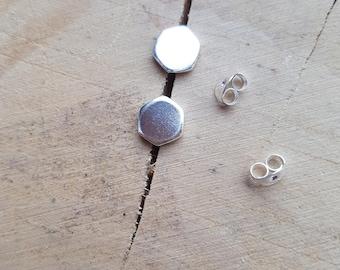 Hexagon earrings, Sterling Silver Hexagon Earrings, Geometric Earrings, Stud Earrings, Minimalist earrings