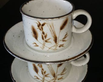 Midwinter Stonehenge Wild Oats Cup and Saucer Sets TWO Sets per Lot Brown Intaglio Stoneware Made in England