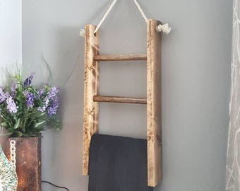 Hanging Wooden Ladder    Towel Ladder, Towel Rack, Towel Holder, Bathroom Decor, Farmhouse Decor, Bathroom Storage, Gift for Mom