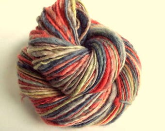 Handspun knitting yarn, handpainted chunky yarn, blue faced leicester fibre, rosy red / pink, greys and pale yellow, thick bulky wool