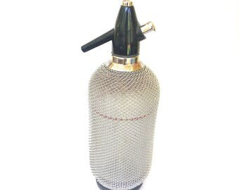 Vintage 1940s Glass Seltzer Bottle with Silver Wire Mesh Covering