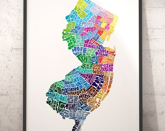 New Jersey Map Etsy - Nj map
