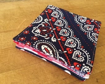 Red, White and Blue Reversible Fabric Cloth Coasters, Mug Rug, Set of 4, by CHOW with ME