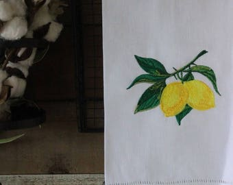 Hemstitch Embroidered Personalized Tea Towel Lemon Branch
