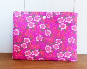 Cover Tablet / book quilt fabric flowers neon pink and orange, inner black and grey hexagons