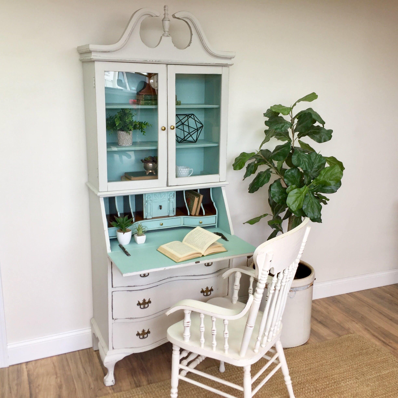 Antique Secretary Desk With Hutch   Home Office Furniture   Compact Desk    Tall Secretary Desk   Drop Front Desk   Distressed Home Desk