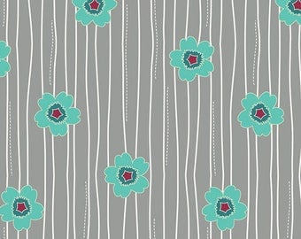 Nordica Fabric Fabric/Mint Flowers on Gray/Jeni Baker/Art Gallery Fabrics/Cotton Sewing Material/Quilting, Clothing/Yardage/By The Yard