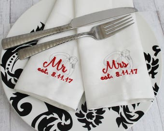 Mr. and Mrs. Napkin Set of 2 Customize with Wedding Date