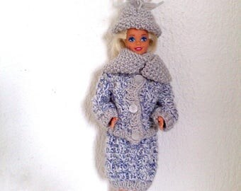 Winter set for 100% handmade knitted barbie. 4 pieces doll mannequin