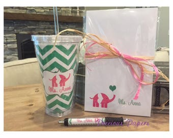 Personalized Teacher Elephant notepad pen and tumbler set Teacher notepads teacher tumblers elephant Gifts