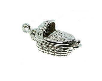 Sterling Silver Opening Moses Basket Charm For Bracelets