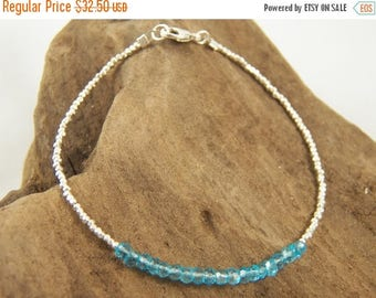 Summer Sale 40% Simple Chic Faceted Swiss Blue Quartz and Hill Tribe Silver Beaded Bracelet - All Sterling Silver