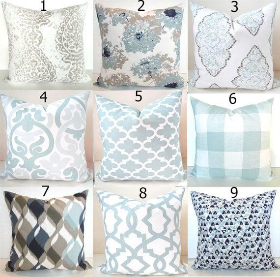 Spa Blue Throw Pillows : Spa Blue PILLOWS Tan Throw Pillow Covers Snowy Silver Navy