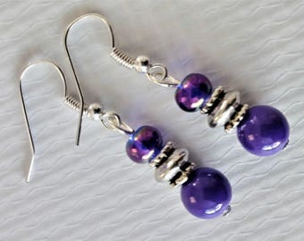 Purple Beaded Handmade Dangle Drop Earrings