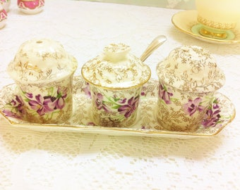 Violet Salt and Pepper Shaker Set with Lidded Mustard Pot