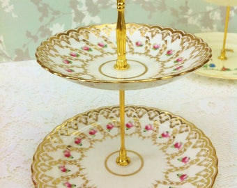 Vintage Rich Gold 2 Tier Mini Cake Stand